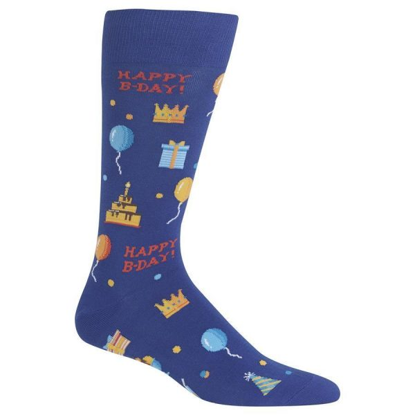 Happy Birthday Hot Sox Dress Crew Socks Dark Blue