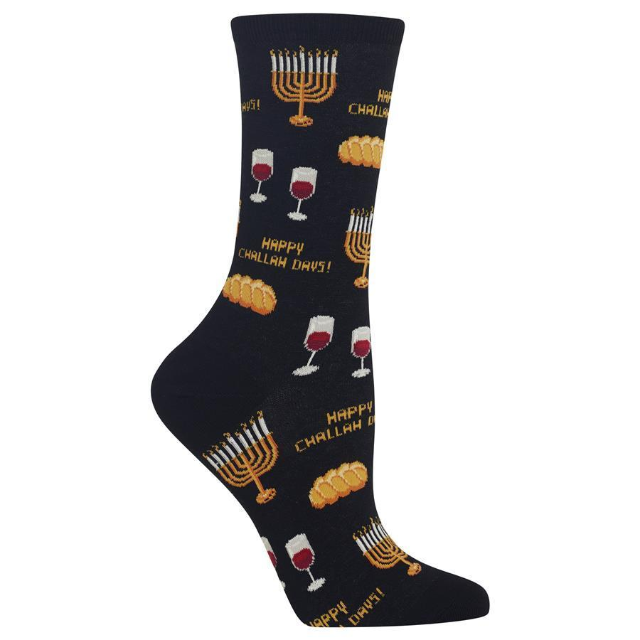 Happy Challah Days Hot Sox Trouser Crew Sock Black