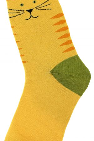 Yellow Kitty Foot Traffic Trouser Crew Socks