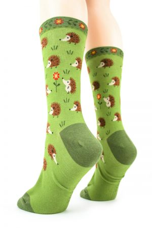 Hedgehog Hugs Foot Traffic Trouser Crew Socks Green