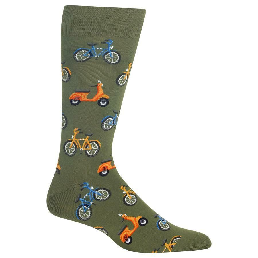 Bike & Vespa Hot Sox Dress Crew Socks Olive