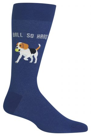 Beagle Ball So Hard Hot Sox Dress Crew Socks Dk Blue