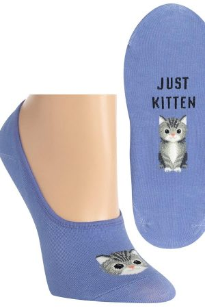 Just Kitten Hot Sox Foot liner Socks Periwinkle