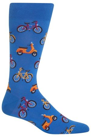 Bike & Vespa Hot Sox Dress Crew Socks Blue
