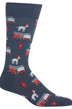 Fire Truck & Dog Hot Sox Dress Crew Socks Denim