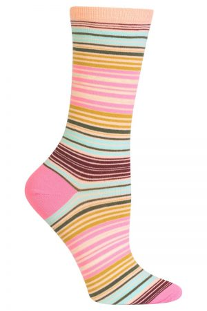 Serape Stripe Hot Sox Trouser Crew Socks Blush