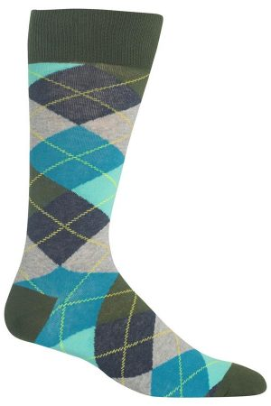 Argyle Hot Sox Dress Crew Socks Olive