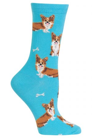 Corgis Hot Sox Trouser Crew Socks Aqua