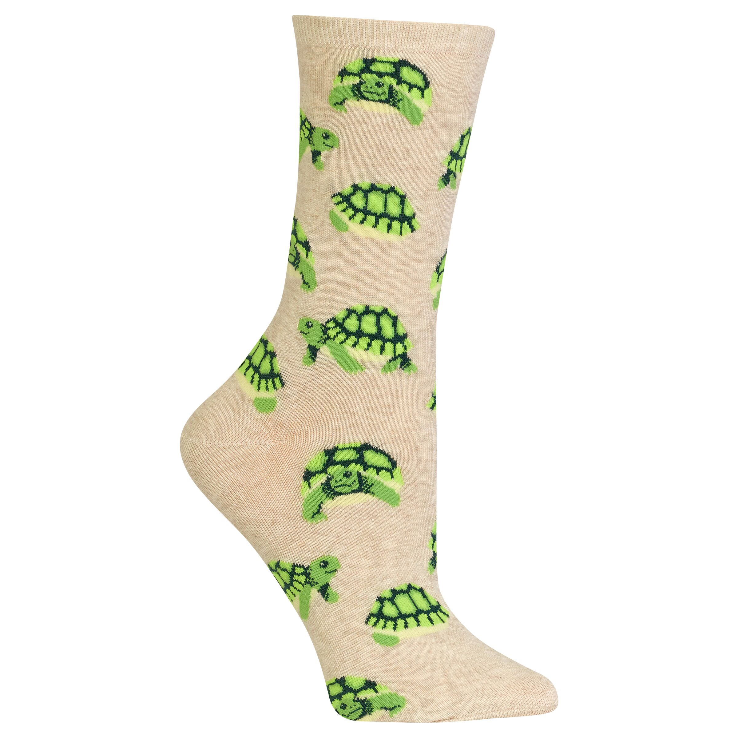 5869f57b87 Turtle Hot Sox Trouser Crew Socks Natural New Women's 9-11 Slow Poke Fashion