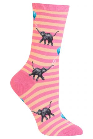Elephants with Balloons Hot Sox Trouser Crew Socks Pink