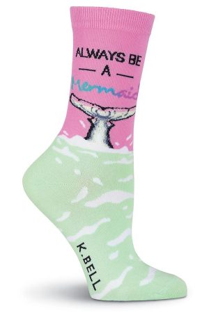 Always Be A Mermaid K Bell Trouser Crew Socks Pink