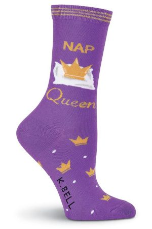 Nap Queen K Bell Trouser Crew Socks Purple