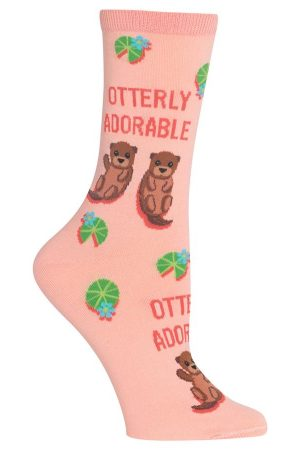 Otterly Adorable Hot Sox Trouser Crew Socks Blush