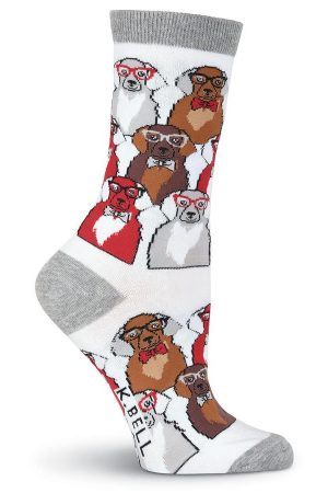 Smarty Dogs K Bell Trouser Crew Socks White