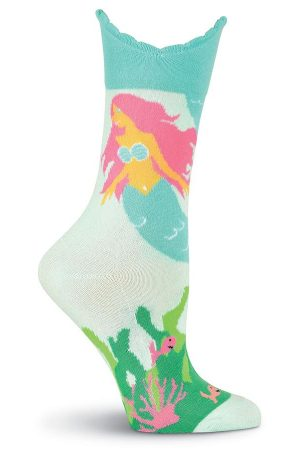 Mermaid Tail K Bell Crew Socks Wide Mouth Turquoise
