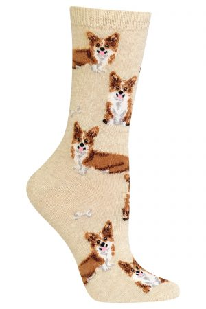 Corgis Hot Sox Trouser Crew Socks Natural