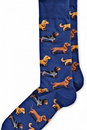 Dachshunds Hot Sox Dress Crew Socks Dk Blue