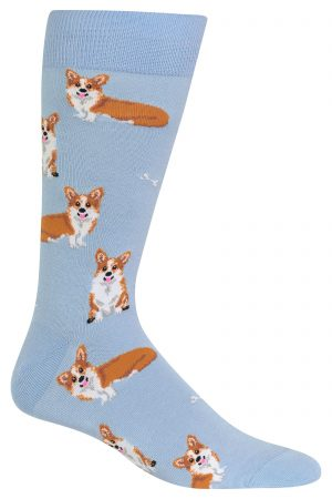 Corgi Hot Sox Dress Crew Socks Light Blue