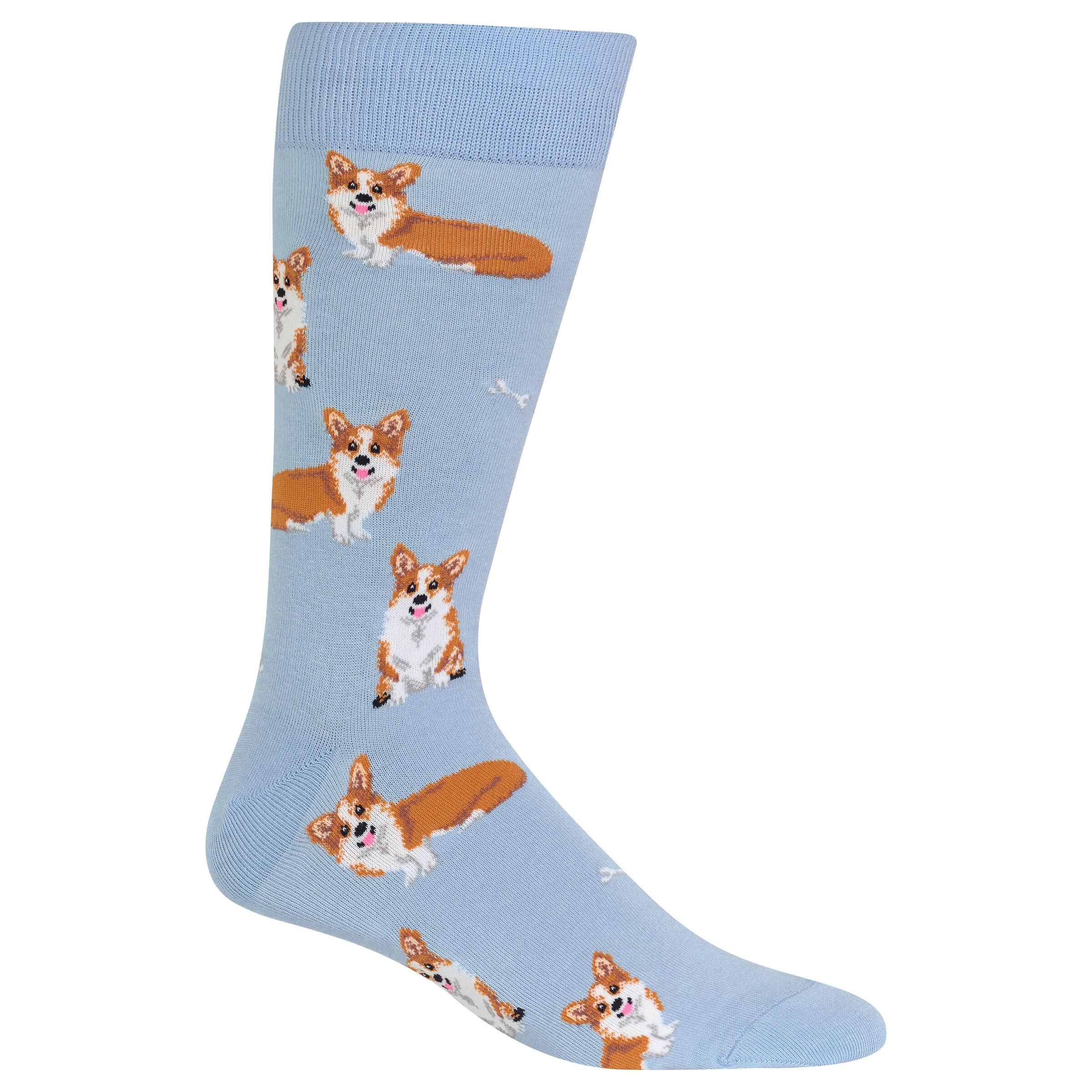 7e8289a9b38 Corgi Hot Sox Dress Crew Socks Light Blue New Men s Size 10-13 Royal Dog  Fashion