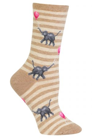 Elephants with Balloons Hot Sox Trouser Crew Socks Hemp