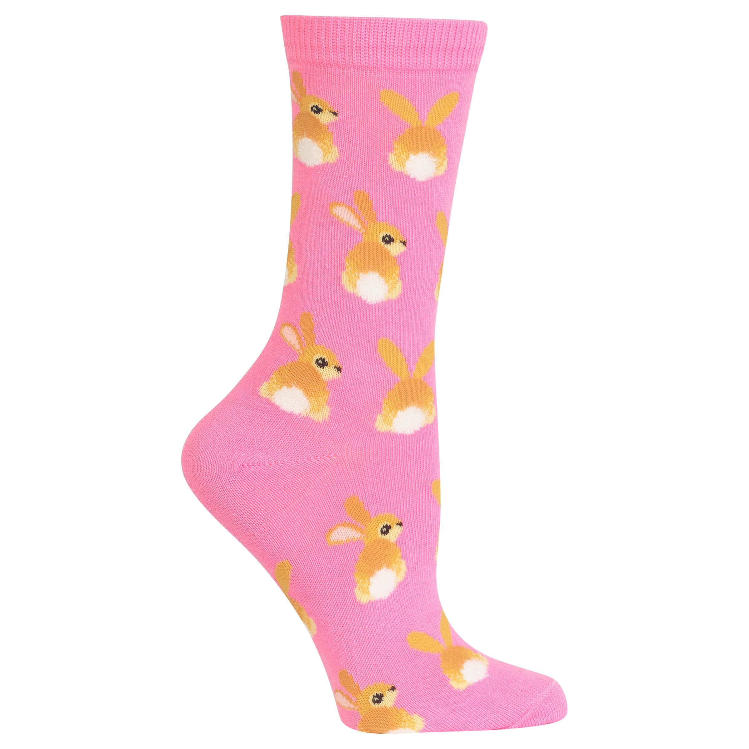 Bunny Tails Hot Sox Trouser Crew Socks Pink
