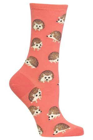 Hedgehogs Hot Sox Trouser Crew Socks Coral