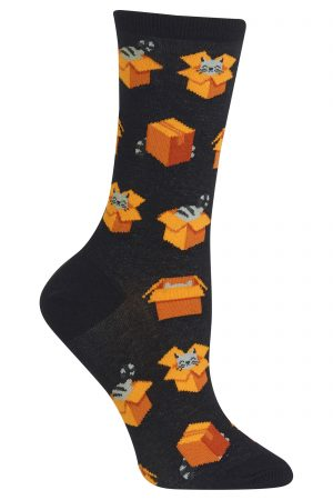 Cats in Boxes Hot Sox Trouser Crew Socks Black
