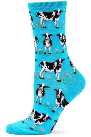 Happy Cows Hot Sox Trouser Crew Socks Turquoise