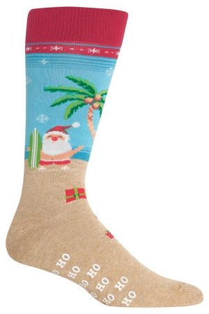 Surfing Santa Hot Sox Non-Skid Dress Crew Socks Red