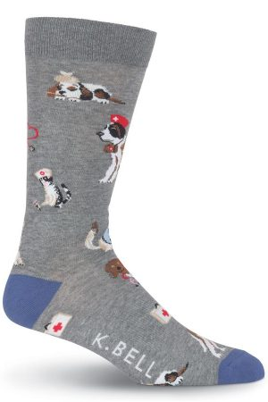 Veterinarian K Bell Dress Crew Socks Grey