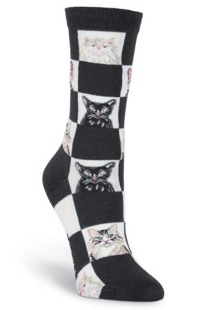 Retro Cats K Bell Trouser Crew Socks Black