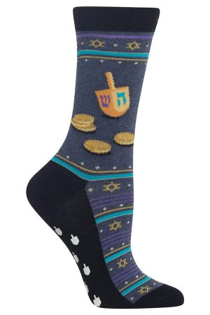 Dreidel and Gelt Hot Sox Non-Skid Crew Socks Denim