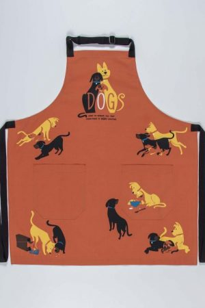 Dogs Here to Remind Blue-Q Apron Heavy Cotton Twill