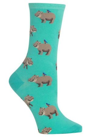 Happy Hippo Hot Sox Women's Crew Socks Mint