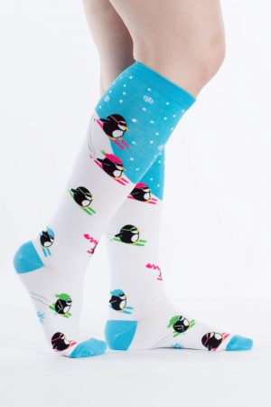 Down Hill Penguins Knee High Socks