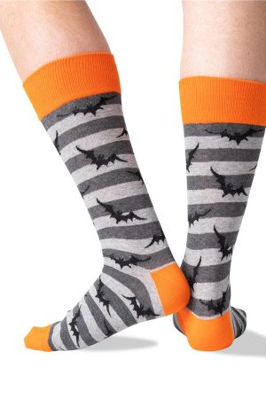 Bat Stripes Hot Sox Dress Crew Socks Charcoal