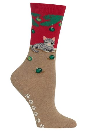 Christmas Cat Hot Sox Non-Skid Crew Socks Red