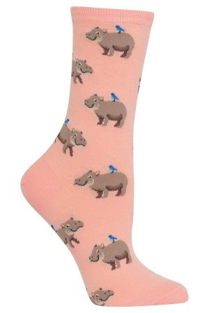 Happy Hippo Hot Sox Trouser Crew Socks Blush