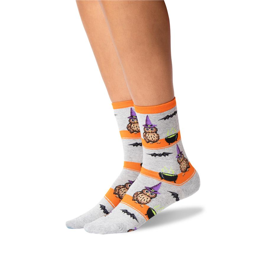 Owl Witch Hot Sox Trouser Crew Socks Grey