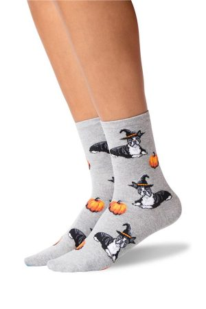 Halloween Boston Terrier Hot Sox Trouser Crew Socks