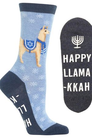 Happy Llamakkah Hot Sox Non-Skid Crew Socks Blue