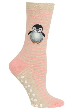 Fluffy Penguin Stripes Hot Sox Non-Skid Crew Socks Blush
