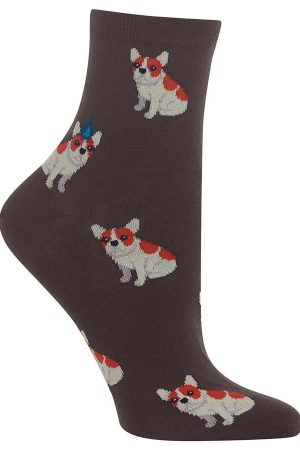 Birthday Frenchie Hot Sox Anklet Socks Brown