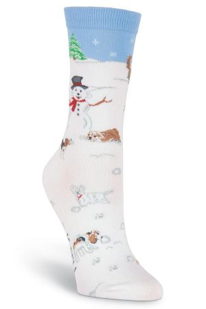 Snow Paws K Bell Trouser Crew Socks White