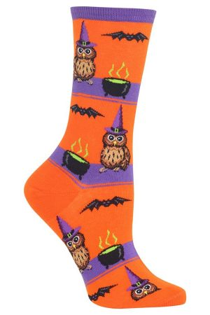 Owl Witch Hot Sox Trouser Crew Socks Orange