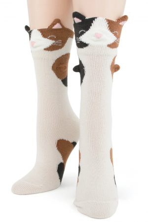 Calico Cat 3-D Trouser Crew Socks New Women's Size 9-11