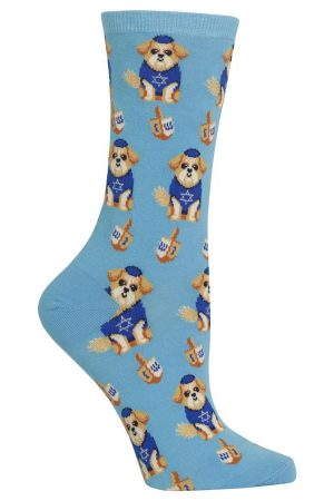 Dreidel Dogs Hot Sox Trouser Crew Socks Blue