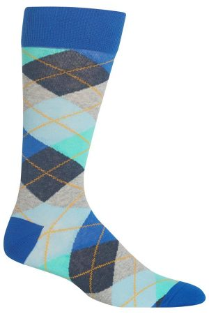 Argyle Hot Sox Dress Crew Socks Blue
