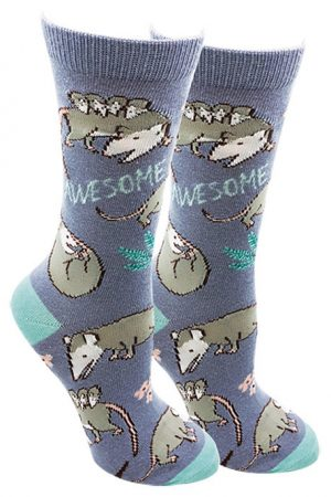 Awesome Possum Sock Harbor Women's Crew Socks Blue