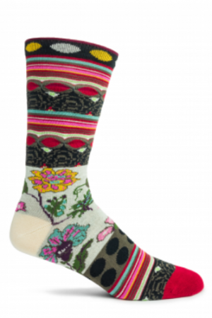 Fille Ozone Trouser Socks Black Floral New Women's X-Large